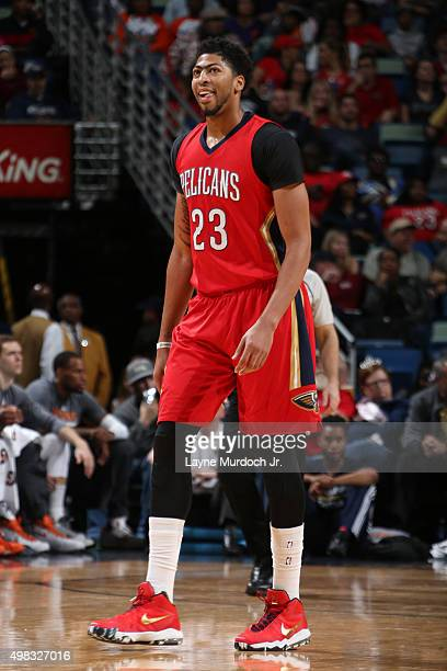 Anthony Davis of the New Orleans Pelicans is seen during the game against the Phoenix Suns on November 22 2015 at the Smoothie King Center in New...