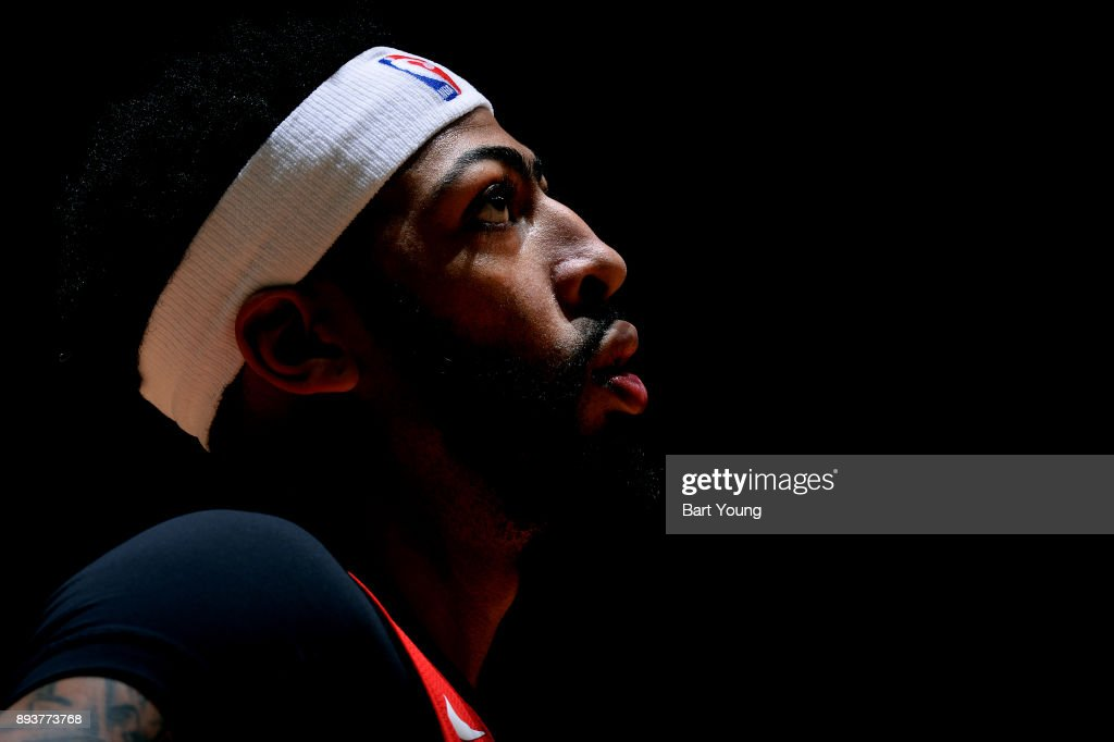 Anthony Davis #23 of the New Orleans Pelicans looks on during the game against the Denver Nuggets on December 15, 2017 at the Pepsi Center in Denver, Colorado.