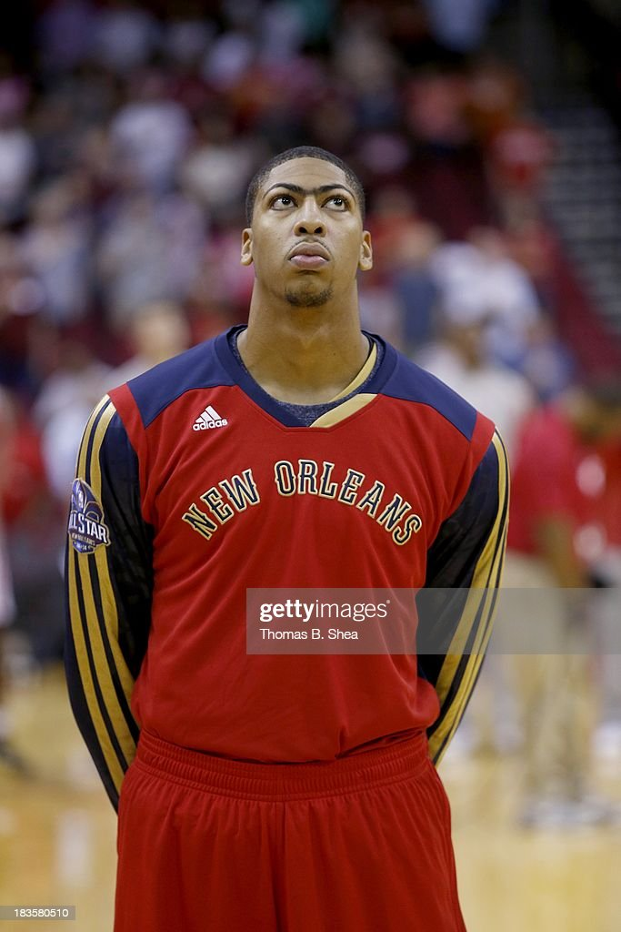 Anthony Davis #23 of the New Orleans Pelicans looks on prior to a preseason NBA game against the New Orleans Pelicans on October 5, 2013 at Toyota Center in Houston, Texas. The Pelicans won 116 to 115.