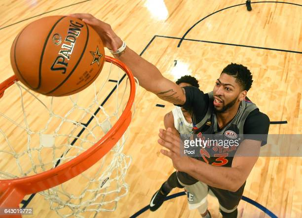 Anthony Davis of the New Orleans Pelicans makes a slam dunk in the first half during the 2017 NBA AllStar Game at Smoothie King Center on February 19...