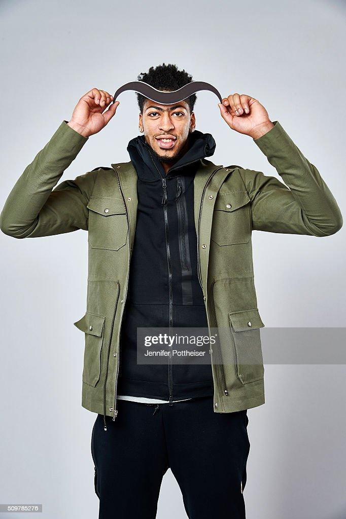 Anthony Davis #23 of the New Orleans Pelicans poses for a portrait with the Twitter emoji during NBA All-Star Weekend on February 12, 2016 at the Sheraton Centre in Toronto, Ontario Canada.