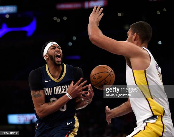 Anthony Davis of the New Orleans Pelicans react after getting fouled during the first half against Los Angeles Lakers at Staples Center October 22...