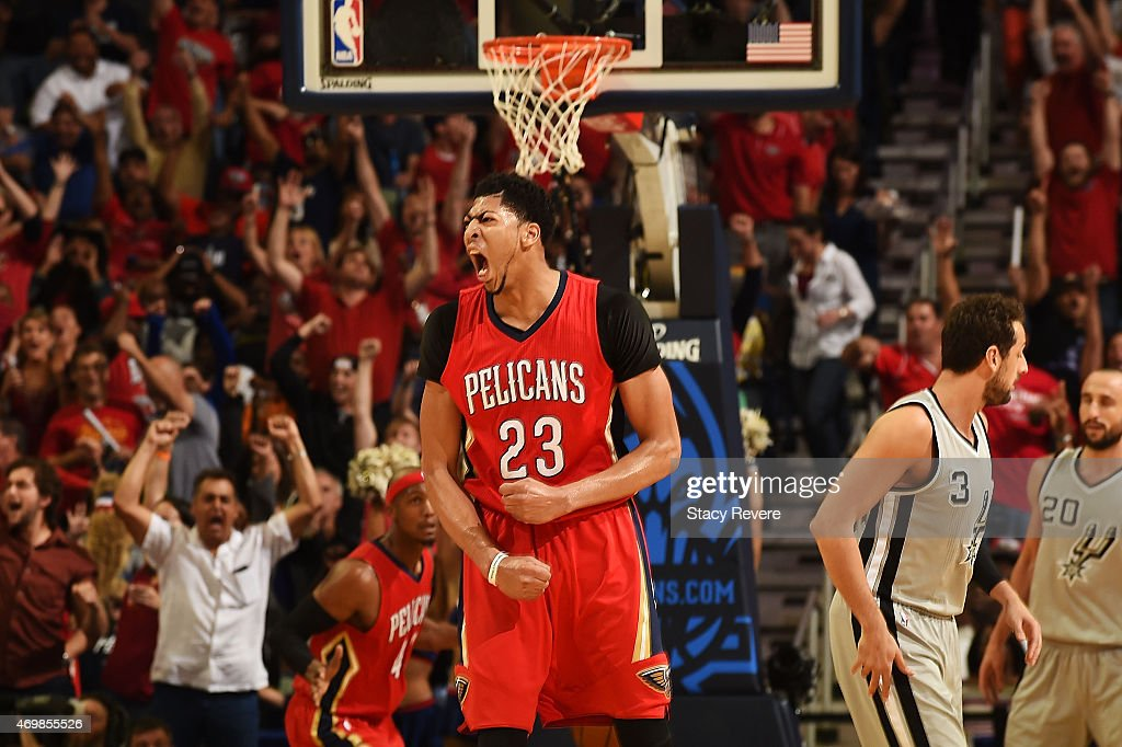 Anthony Davis #23 of the New Orleans Pelicans reacts to a three point shot during the first half of a game against the San Antonio Spurs at the Smoothie King Center on April 15, 2015 in New Orleans, Louisiana.