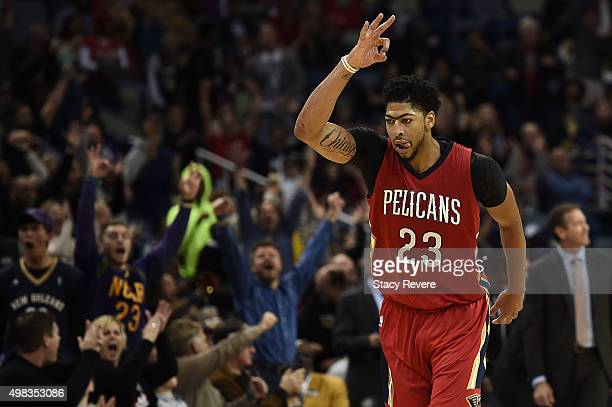 Anthony Davis of the New Orleans Pelicans reacts to a three point shot during the second half of a game against the Phoenix Suns at the Smoothie King...