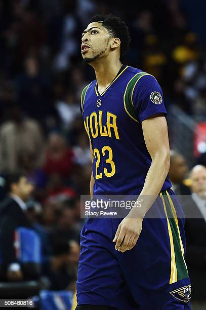 Anthony Davis of the New Orleans Pelicans reacts to an officials call during the second half of a game against the Los Angeles Lakers at the Smoothie...