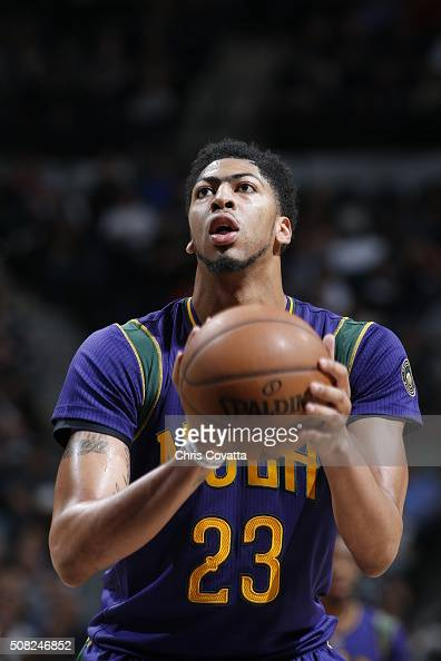 Anthony Davis of the New Orleans Pelicans shoots a free throw against the San Antonio Spurs on February 3 2016 at the ATT Center in San Antonio Texas...