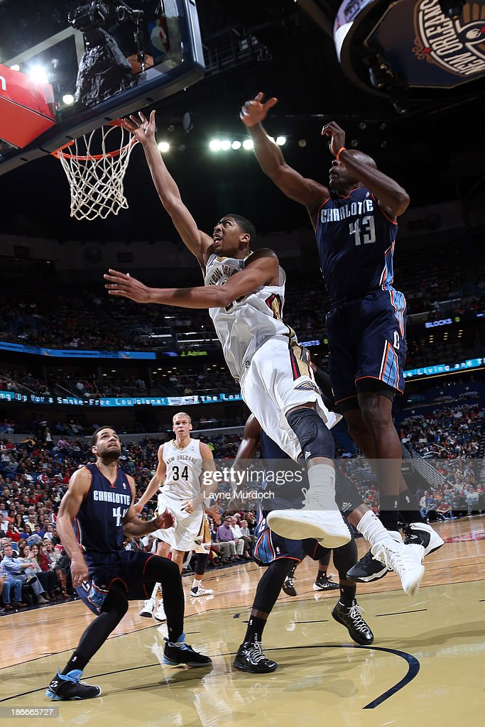 Anthony Davis #23 of the New Orleans Pelicans shoots against <a gi-track='captionPersonalityLinkClicked' href=/galleries/search?phrase=Anthony+Tolliver&family=editorial&specificpeople=4195496 ng-click='$event.stopPropagation()'>Anthony Tolliver</a> #43 of the Charlotte Bobcats on November 2, 2013 at the New Orleans Arena in New Orleans, Louisiana.