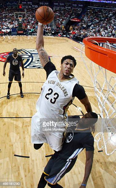 Anthony Davis of the New Orleans Pelicans shoots against the Golden State Warriors during the game on October 31 2015 at Smoothie King Center in New...