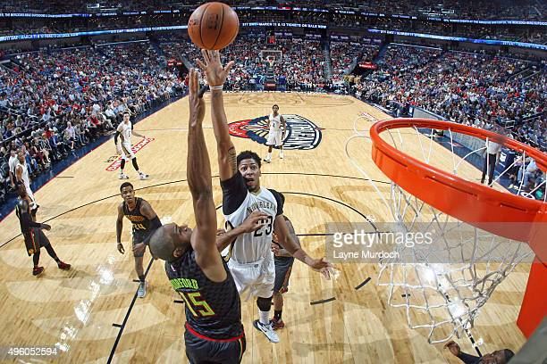 Anthony Davis of the New Orleans Pelicans shoots the ball against the Atlanta Hawks during an NBA game on November 6 2015 at the Smoothie King Center...