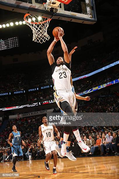 Anthony Davis of the New Orleans Pelicans shoots the ball against the Minnesota Timberwolves on November 23 2016 at the Smoothie King Center in New...
