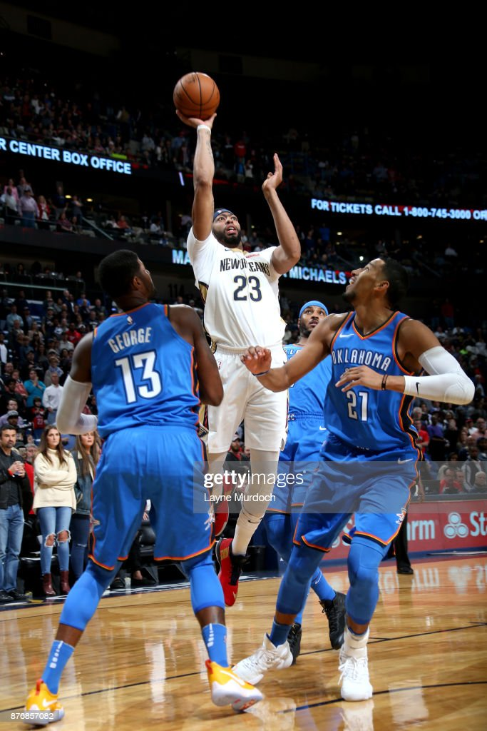Anthony Davis #23 Of The New Orleans Pelicans Shoots The Ball Against The  Oklahoma City