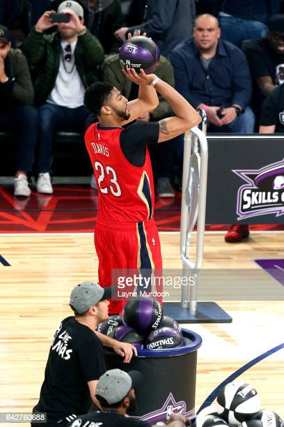 Anthony Davis of the New Orleans Pelicans shoots the ball during the Taco Bell Skills Challenge during State Farm AllStar Saturday Night as part of...