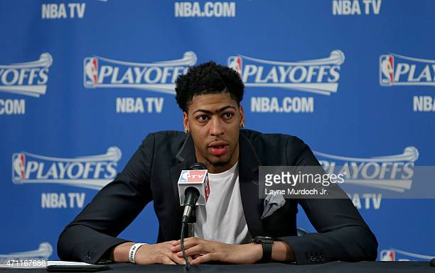 Anthony Davis of the New Orleans Pelicans speaks to the press after the loss against the Golden State Warriors for Game Four of the Western...