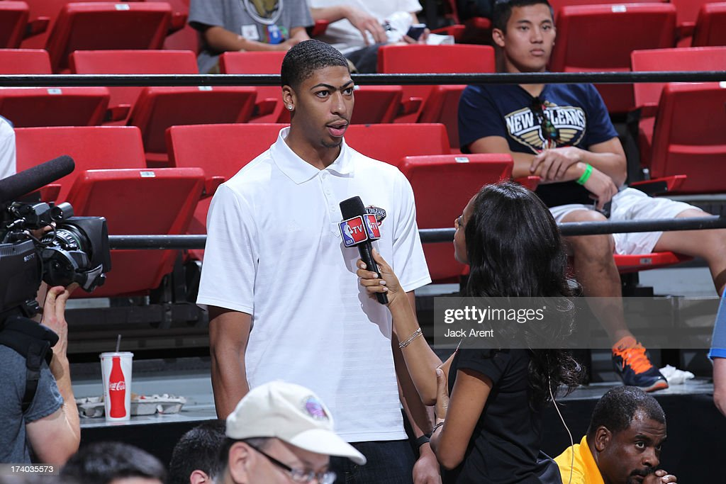 Anthony Davis #23 of the New Orleans Pelicans speaks with the media versus the Washington Wizards during NBA Summer League on July 19, 2013 at the Thomas and Mack Center Center in Las Vegas, Nevada.