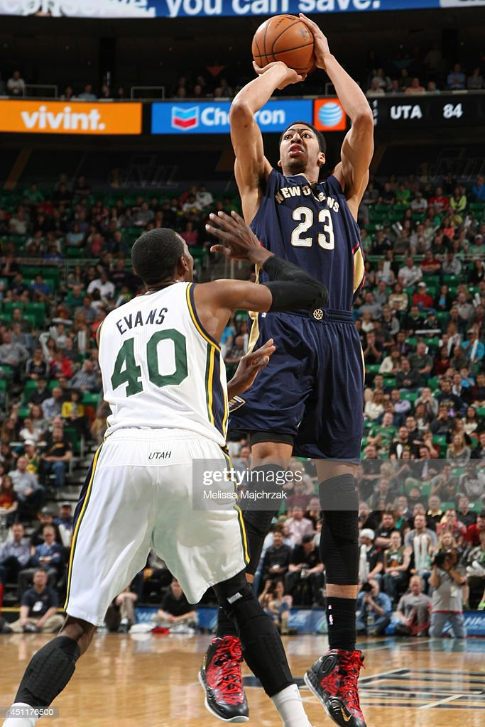 Anthony Davis #23 of the New Orleans Pelicans takes a shot against the Utah Jazz at EnergySolutions Arena on April 04, 2014 in Salt Lake City, Utah.