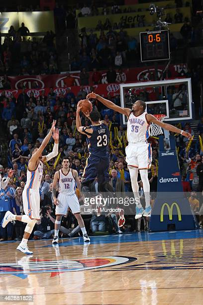 Anthony Davis of the New Orleans Pelicans takes the game winning shot against the Oklahoma City Thunder on February 6 2015 at Chesapeake Energy Arena...