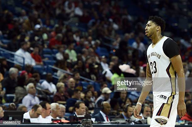 Anthony Davis of the New Orleans Pelicans walks off the court during the first half of a game against the Dallas Mavericks at the Smoothie King...