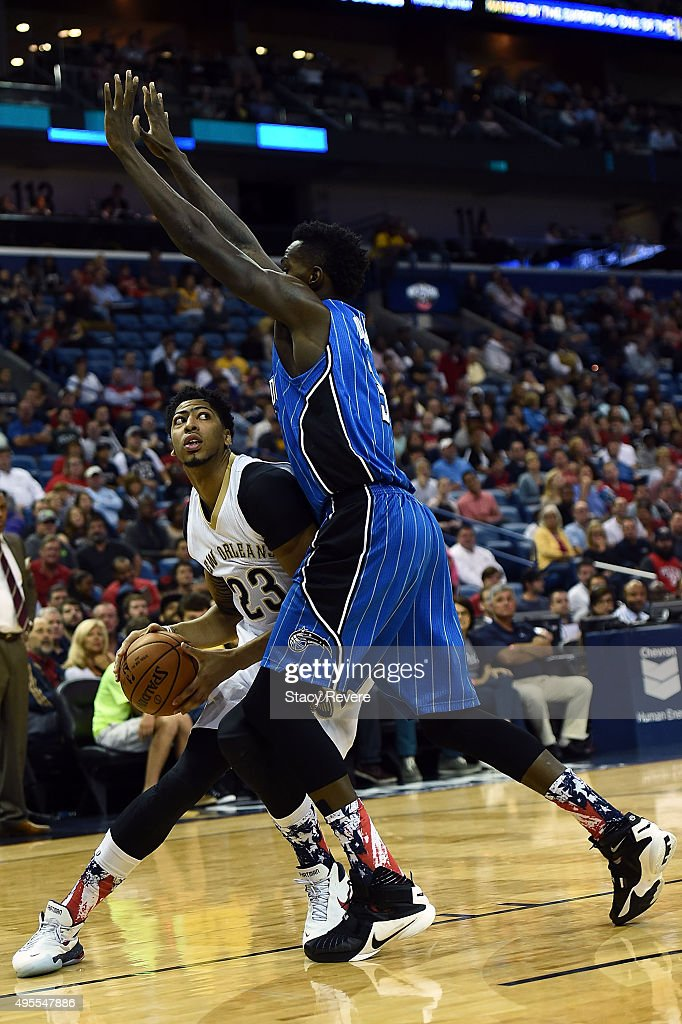 Anthony Davis #23 of the New Orleans Pelicans works against Dewayne Dedmon #3 of the Orlando Magic during the first half of a game at the Smoothie King Center on November 3, 2015 in New Orleans, Louisiana.