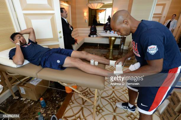 Anthony Davis of the USA Basketball Men's National Team in the training room at the Wynn Las Vegas before departing for practice on July 28 2014 in...