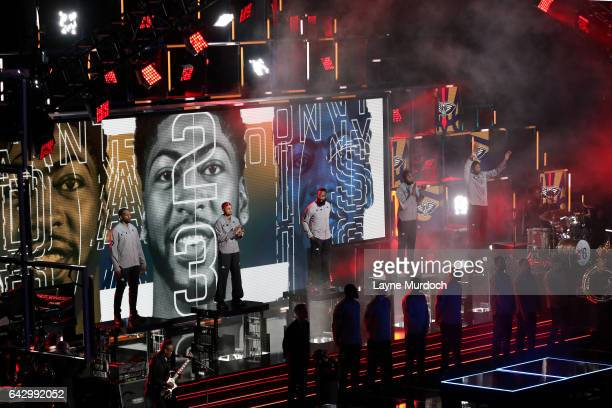Anthony Davis of the Western Conference AllStar Team gets introduced during the NBA AllStar Game as part of the 2017 NBA All Star Weekend on February...