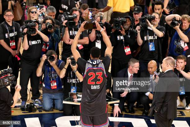 Anthony Davis of the Western Conference AllStar Team receives the 2017 MVP NBA AllStar Award during the NBA AllStar Game as part of the 2017 NBA All...