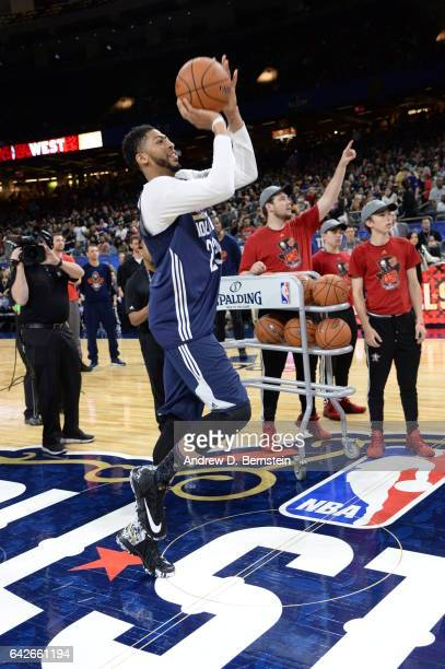 Anthony Davis of the Western Conference AllStar Team shoots the ball during the 2017 NBA AllStar Practice as part of 2017 AllStar Weekend at the...