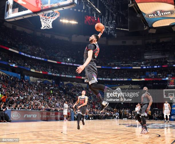 Anthony Davis of the Western Conference AllStars dunks during the NBA AllStar Game as part of the 2017 NBA All Star Weekend on February 19 2017 at...