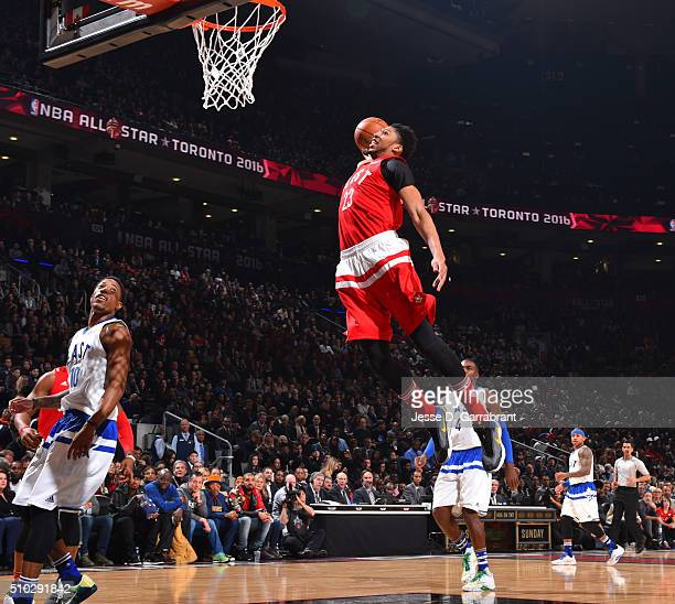 Anthony Davis of the Western Conference AllStars goes up for the dunk during the NBA AllStar Game as part of the 2016 NBA All Star Weekend on...