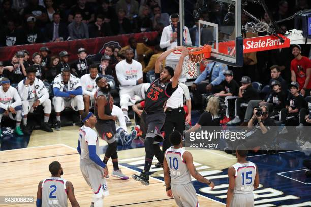Anthony Davis of the Western Conference dunks during the NBA AllStar Game as a part of 2017 AllStar Weekend at the Smoothie King Center on February...