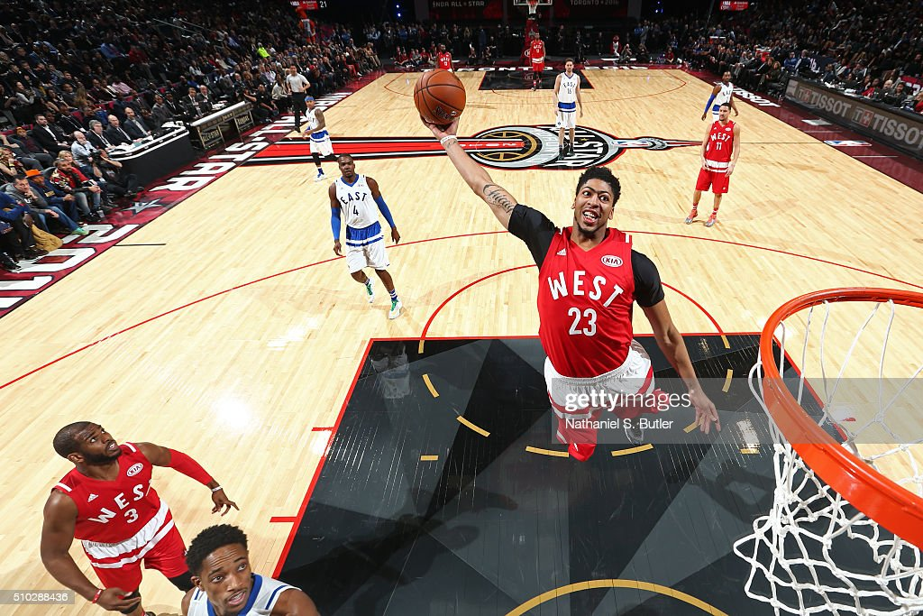 Anthony Davis #23 of the Western Conference dunks the ball during the NBA All-Star Game as part of 2016 NBA All-Star Weekend on February 14, 2016 at the Air Canada Centre in Toronto, Ontario, Canada.