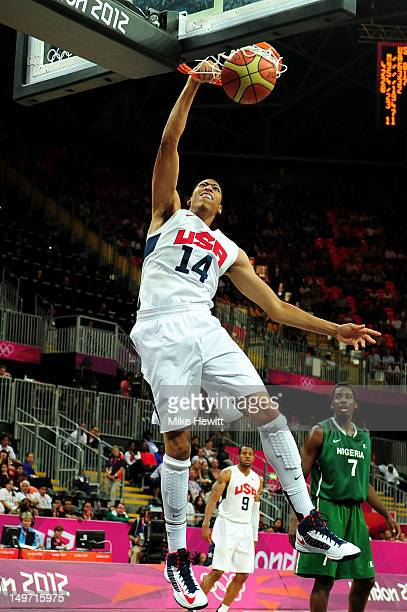 Anthony Davis of United States slam dunks during the Men's Basketball Preliminary Round match against Nigeria on Day 6 of the London 2012 Olympic...