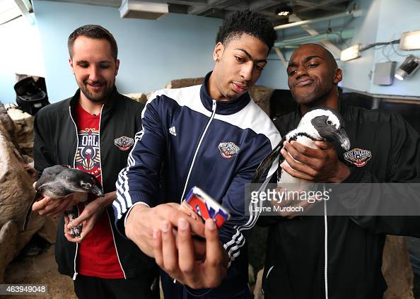 Anthony Davis Quincy Pondexter and Ryan Anderson of the New Orleans Pelicans take 'selfies' to promote the Toast for the Coast Event on February 18...