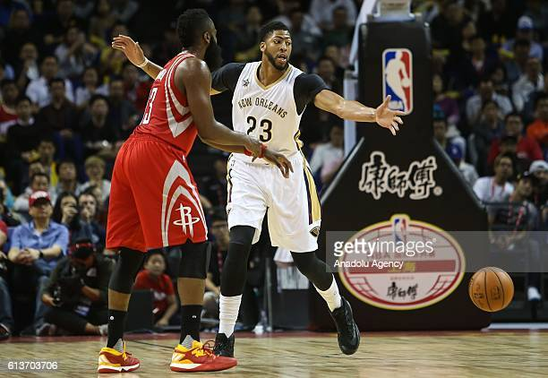 Anthony Davis#23 of New Orleans Pelicans in action against James Harden#13 of Houston Rockets during the 201617 NBA Global Game at the MercedesBenz...
