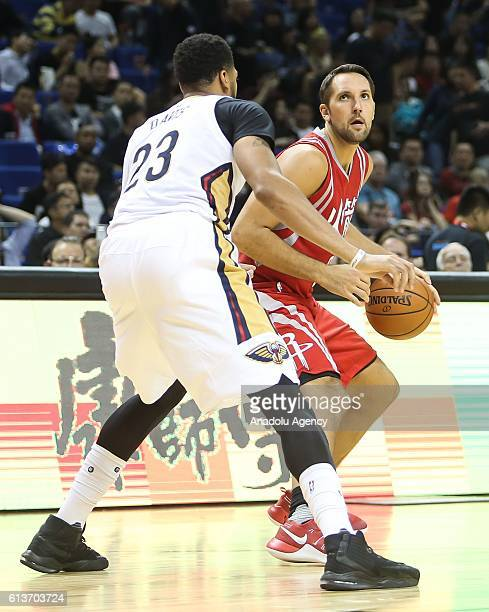 Anthony Davis#23 of New Orleans Pelicans in action against Ryan Anderson#3 of Houston Rockets during the 201617 NBA Global Game at the MercedesBenz...