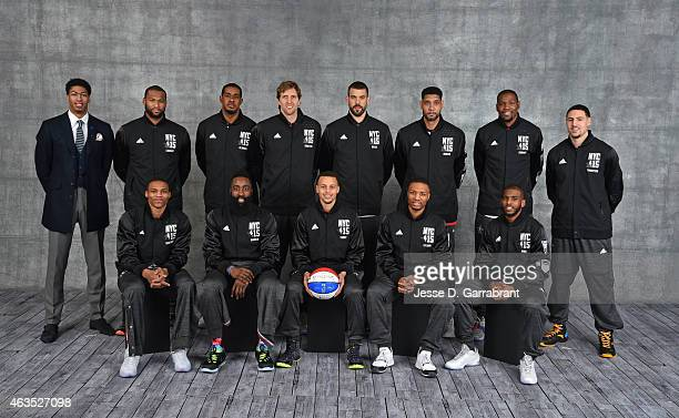 Anthony DavisDemarcus Cousins LaMarcus AldridgeDirk NowitzkiMarc Gasol Tim Duncan Kevin Durant and Klay Thompson fill out the back row The Front row...