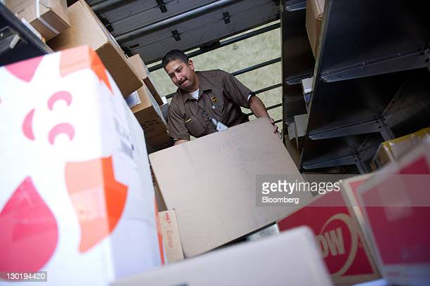 Anthony De La Rosa a driver for United Parcel Service Inc sorts packages to be delivered in San Francisco California US on Friday Oct 21 2011 UPS is...
