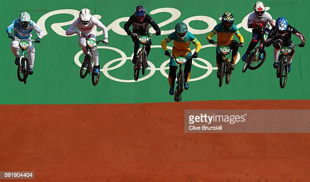 Anthony Dean of Australia competes in the Cycling BMX Men's Quarterfinals on Day 13 of the 2016 Rio Olympic Games at Olympic BMX Centre on August 18...