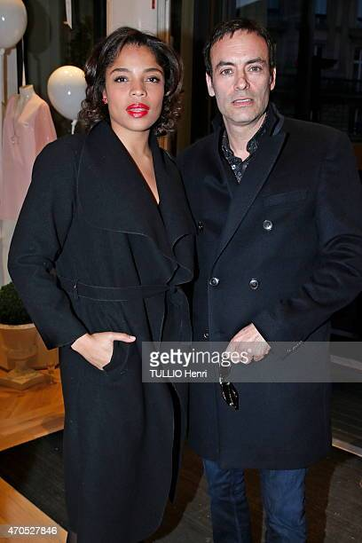 Anthony Delon and Jina Djemba attend the opening night of the new Tommy Hilfiger store on March 31 2015 in Paris photo by Henri Tullio/Paris Match...