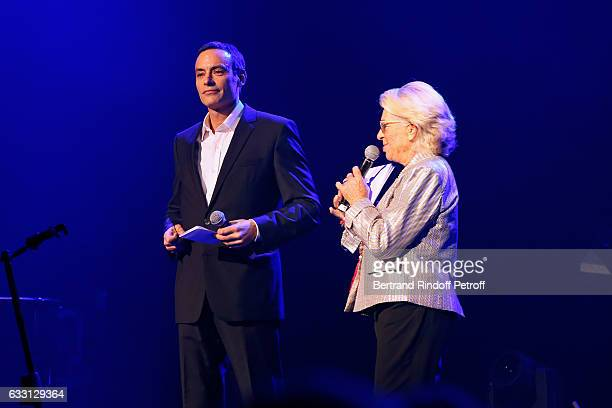 Anthony Delon and Member of the Honor Committee of the Association for Research on Alzheimer's Veronique de Villele present the Charity Gala against...