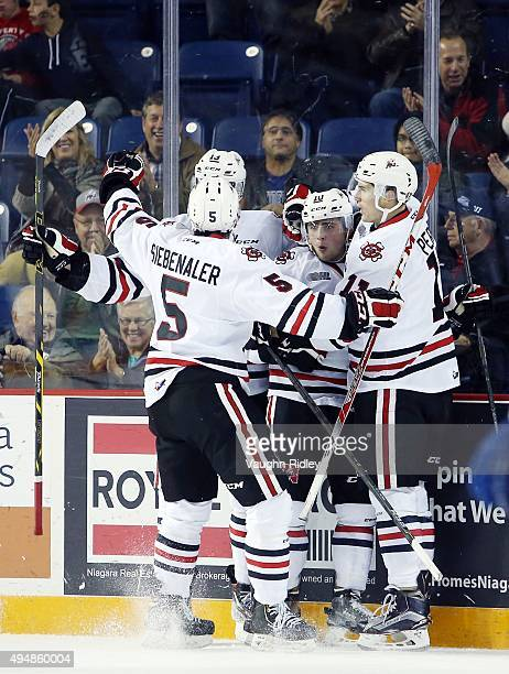 Anthony DiFruscia of the Niagara IceDogs celebrates a goal with teammates during an OHL game against the Mississauga Steelheads at the Meridian...