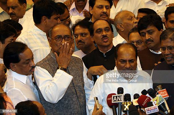 K Anthony Digvijay Singh Manik Rao Thackeray and Ashok Chavan brief the media after a CLP meet in Mumbai on Saturday October 24 2009