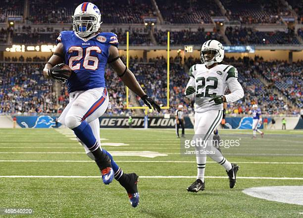 Anthony Dixon of the Buffalo Bills scores a fourth quarter touch down against the New York Jets at Ford Field on November 24 2014 in Detroit Michigan