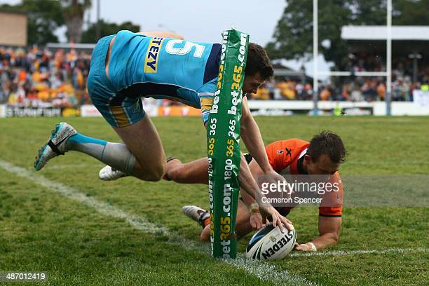 Anthony Don of the Titans attempts to score a try during the round 8 NRL match between the Wests Tigers and the Gold Coast Titans at Leichhardt Oval...