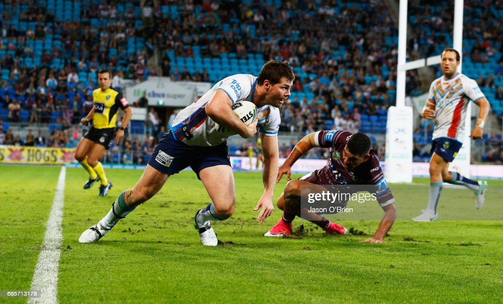 Anthony Don of the Titans in action during the round 11 NRL match between the Gold Coast Titans and the Manly Sea Eagles at Cbus Super Stadium on May 20, 2017 in Gold Coast, Australia.