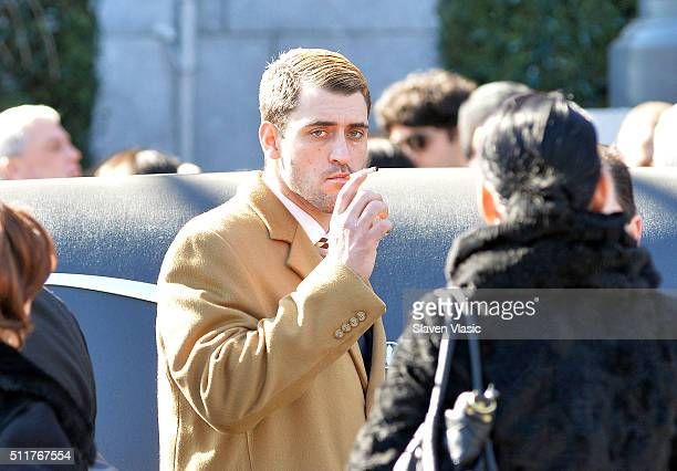 Anthony D'Onofrio attends funeral service held for Angela 'Big Ang' Raiola on February 22 2016 in New York City 'Mob Wives' reality star Angela 'Big...
