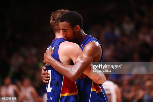 Anthony Drmic and Terrance Ferguson of the Adelaide 36ers celebrate after the round 16 NBL match between the Adelaide 36ers and the Brisbane Bullets...
