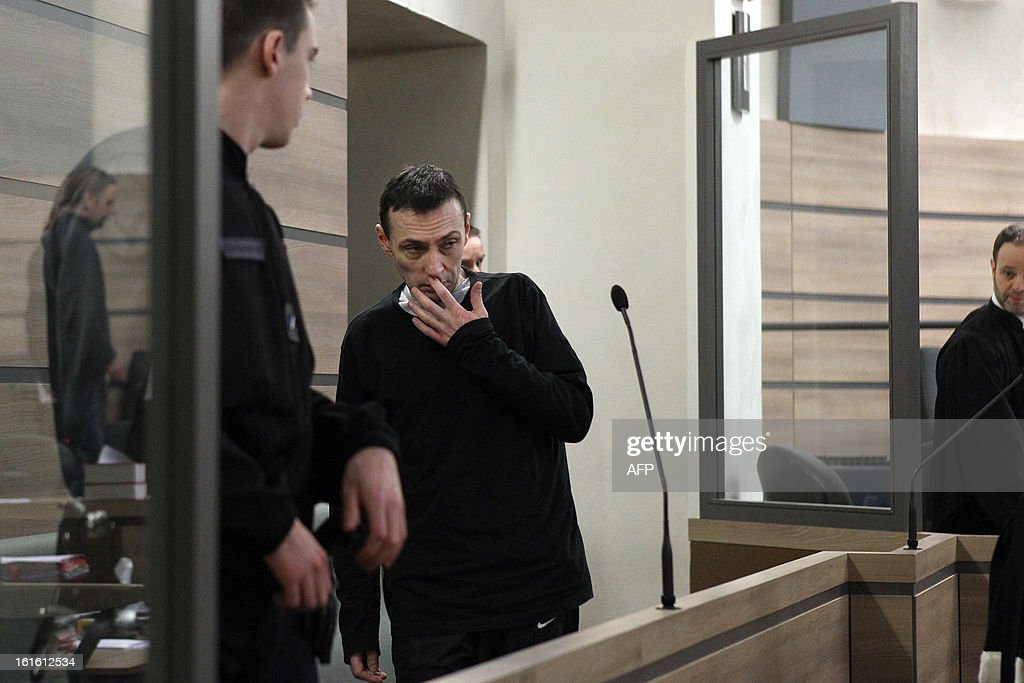 Anthony Dubromel, 43, arrives at Alencon's courtroom on February 13, 2013 to attend his trial for having killed a four years old girl. The young girl, Clara, who was Dubromel's daughter in law, has been found dead in the trunk of an abandonned car in Sainte-Marguerite de l'Autel on February 10, 2010 overnight.