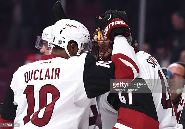 Anthony Duclair and Mike Smith of the Arizona Coyotes celebrate after defeating Montreal Canadiens in the NHL game at the Bell Centre on November 19...