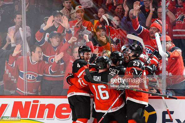 Anthony Duclair of Team Canada celebrates his goal with teammates during the 2015 IIHF World Junior Hockey Championship game against Team Finland at...