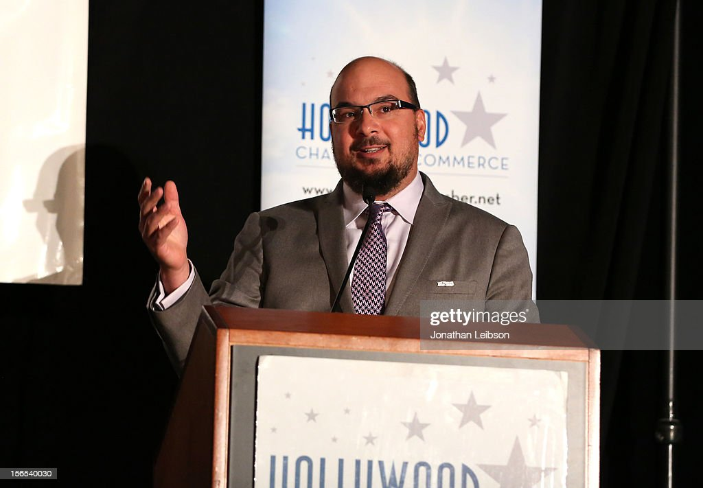 Anthony E. Zuiker, Creator/Executive Producer of CSI is awarded the Commitment to California Award onstage at Variety's Hollywood Chamber Entertainment Conference 2012 at Loews Hollywood Hotel on November 16, 2012 in Hollywood, California.